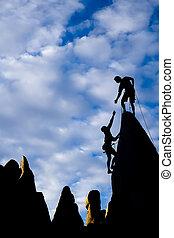 mannschaft, von, kletterer, auf, der, summit.