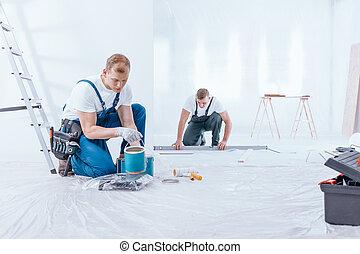 mannschaft, während, arbeit