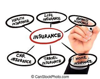 mano, 3d, assicurazione, scritto