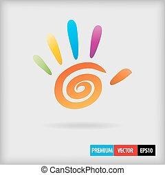 mano, 5, dedos, espiral, color, vector