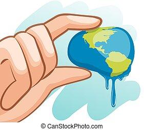 mano, acqua, tema, spremere, terra, risparmiare