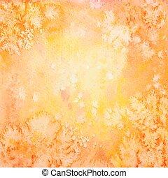 mano, acquarello, vettore, fondo, arancia, disegnato
