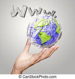 mano, actuación, arrugado, mundo, papel, símbolo, y, www., plano de fondo, como, concepto