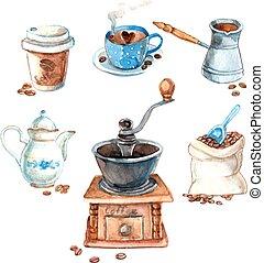 mano, acuarela, dibujado, set?, café, vendimia