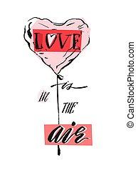 mano, aislado, pastel, aire, forma, amor, tarjeta, resumen, plano de fondo, fase, manuscrito, corazón, colores, moderno, saludo, diseño, blanco, caligrafía, dibujado, vector, globo