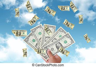 mano, algunos, idea, riqueza, asideros, dólares., metáfora