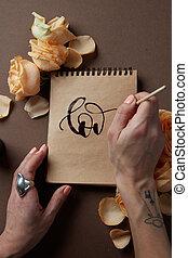 mano, amor, cepillo, escritura carta