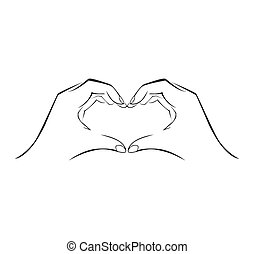mano, amor, simple, símbolo