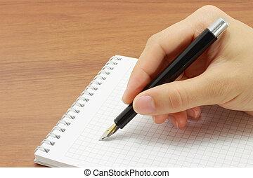 mano aperta, blocco note, scrittura