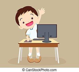 mano, aprendizaje, computadora, niño, estudiante, arriba