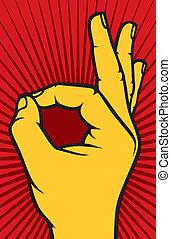 mano, aprobar, humano, señal