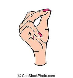mano, aprobar, ilustración, señal