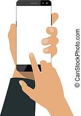 mano, asideros, un, smartphone
