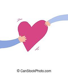 mano., asideros, uno, pasa, mano, otro, corazón, él, rosa