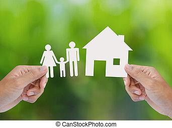 mano, asimiento, casa, y, familia , en, verde