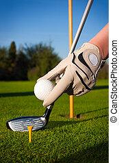mano, asimiento, pelota de golf, con, tee, en, cou