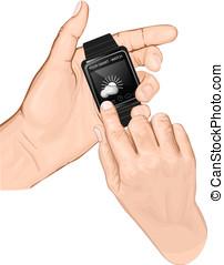 mano, asimiento, smart-watch., gesto, tap.