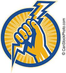mano, asimiento, un, cerrojo relámpago, de, electricidad,...