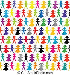mano, bambini, sfondo colorato, seamless