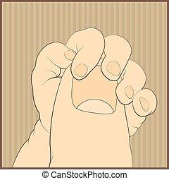 mano bebé, suavemente, tenencia, adulto, dedo