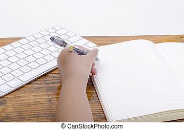 mano, blocco note, penna, scrittura