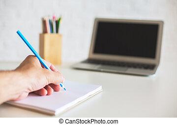 mano, blocco note, scrittura