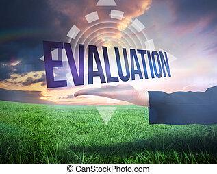 mano, businesswomans, presentación, palabra, evaluación