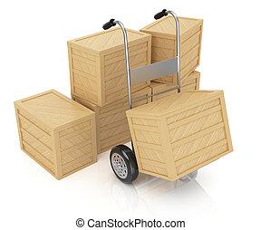 mano, cajas, camión