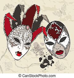 mano, carnaval, veneciano, dibujado, masks.
