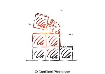 mano, carrera, vector, concepto, dibujado, sketch., aislado, edificio, escalera