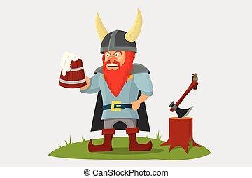 mano, cartone animato, tazza birra, viking
