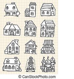 mano, casa, disegnare, carino
