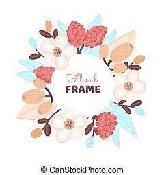 mano, cerchio, disegnato, colorito, fiore, flowers., floreale, design., artistico, fondo, cornice