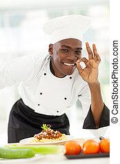 mano, chef, norteamericano, delicioso, señal, afro