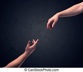 mano, circa, a, tocco, un altro, uno