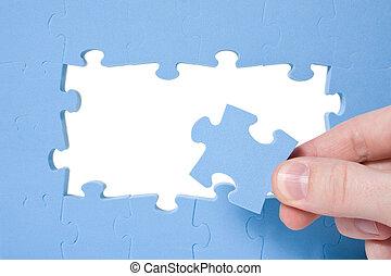 mano, cobrar, azul, rompecabezas