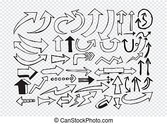 mano, colección, bosquejo, flecha, dibujado