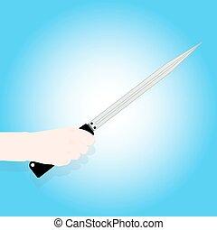 mano., coltello, presa a terra, uomo