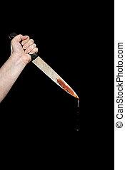 mano, coltello, sanguinante