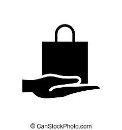 mano, compras, silueta, bolsa, icono, estilo