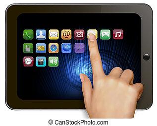 mano, compute, tenencia, tableta, digital
