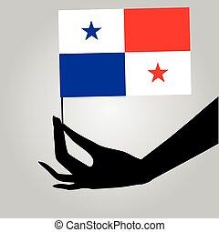 mano, con, bandera de panamá