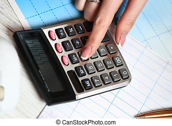 mano, con, calculator., finanzas, y, contabilidad, business.