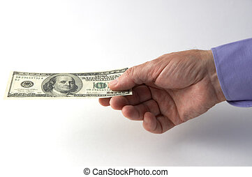 mano, con, cento dollari