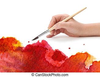 mano, con, cepillo, y, pintura