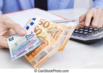 mano, con, cuentas, contabilidad, pagos, y, finanzas
