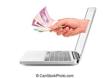 mano, con, dinero, afuera, de, computador portatil, exhibición