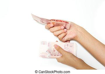 mano, con, dinero