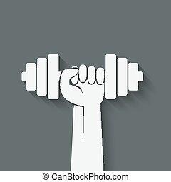 mano, con, dumbbell., condición física, símbolo