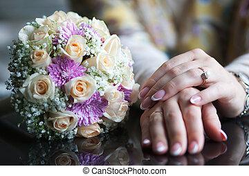 mano, con, fiori